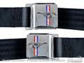 64-73 Mustang Seat Belt Set with Emblem, Saddle