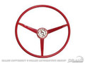 65 Steering Wheel, Bright Red