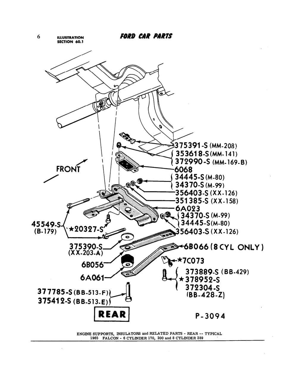 1961 65 Falcon Comet Transmission Mount Bolt Captive Nut Ford 289 Engine And Assembly Diagram Larger More Photos