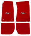 65-73 Mustang Carpeted Floor Mats with Pony Emblem, Coupe/Fastback, Red