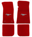 65-73 Mustang Carpeted Floor Mats with Pony Emblem, Convertible, Red