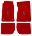 65-73 Mustang Carpeted Floor Mats with Cobra Emblem, Coupe/Fastback, Red