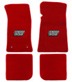 65-73 Mustang Carpeted Floor Mats with BOSS 302 Emblem, Convertible, Red