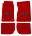 65-73 Mustang Carpeted Floor Mats with MACH 1 Emblem, Coupe/Fastback, Red