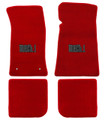 65-73 Mustang Carpeted Floor Mats with MACH 1 Emblem, Convertible, Red