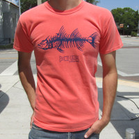 """The Fishbone"" on a Bright Salmon tee"