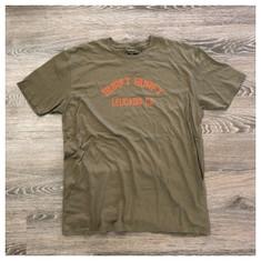 Garage Sale: Surfy Arch tee - XL- Military Green w/orange font