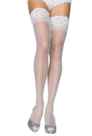 White Lace Top Sheer thigh high Stockings