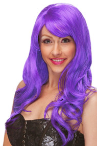 Purple Wavy Long Wig w/ Bangs