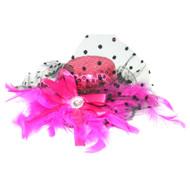 Fuchsia Pink Sequin Burlesque Marabou Mini Top Hat