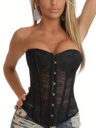 Black Floral Lace Bustier Corset