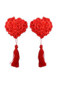 Red Rose Heart Tassel Nipple Pasties