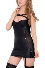 Kiara Black Criss Cross Faux Leather garter Dress