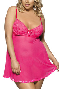 Millie Pink Lace Push-up Padded underwire Sheer Flyaway Babydoll PLUS