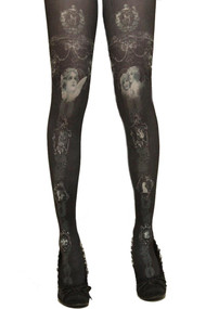 Gray White Victorian Angel Printed Vintage Pantyhose