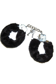Black Furry Metal handcuff with Keys