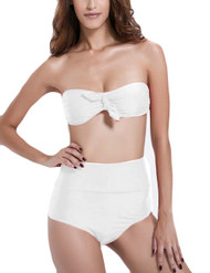 White Paz Retro Bandeau High Waisted Cheeky Bikini