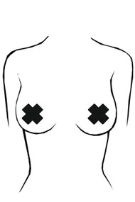 Wild Gal Black Cross Nipple Pasties 2 pairs
