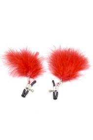 Red Marabou Adjustable Nipple Clamps