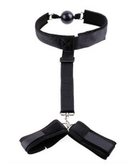 Mouth Silicon Gag Collar T Strap with Handcuff