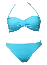 Sky Blue Plain Ribbon Bandeau Padded Bikini  - UK12 MEDIUM