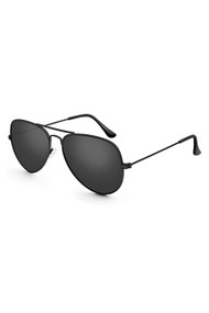 Black Police Military Aviator Shades with Metal Frame