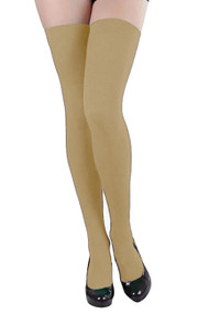 Beige Opaque Thigh Stockings