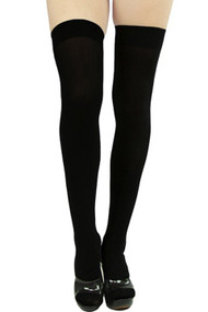 Black Opaque Thigh Stockings