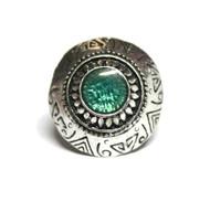 Dimitri's Eye Silver Tone Faux Gem Chunky Boho Ring Turquoise
