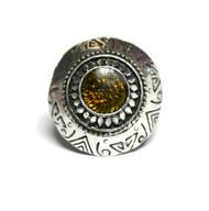 Dimitri's Eye Silver Tone Faux Gem Chunky Boho Ring Olive Green