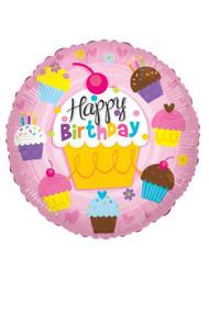 18¨Happy Birthday Pink Cupcake Round Foil Balloon