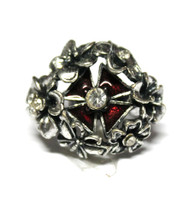 Antique Flower Bouquet Cross Silver Tone Vintage Chunky Ring - Red