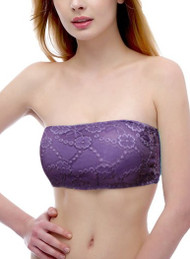 Purple Padded Lace Bandeau Tube Bra