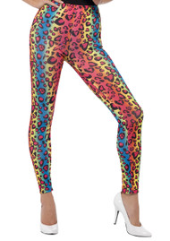 80's Retro Neon Leopard Print Leggings