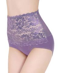 Lavender Lace Mesh Retro High Waist Panty