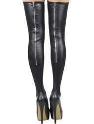 Dominatrix Vinyl Zip up Leatherette Thigh High Stockings