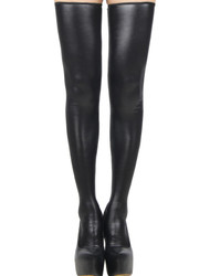 Dominatrix Vinyl Leatherette Thigh High Stockings