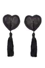Burlesque Black Heart Satin Tassel Nipple Pasties