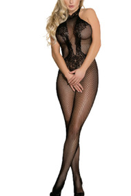 Halter Floral Lace and Fishnet Body Stocking Lingerie
