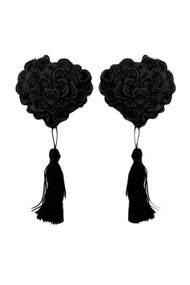 Black Rose Heart Tassel Nipple Pasties
