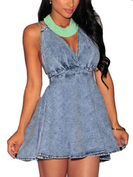 Polly Denim Criss Cross Halter Skater Dress
