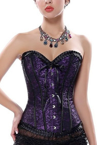 Jen Purple Satin Black Lace Burlesque corset