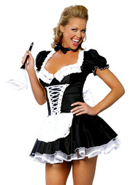 Temptress Ruffle Satin French Maid Costume
