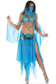 Sexy Blue Sequined Arabian Night Belly Dancer Halloween Costume