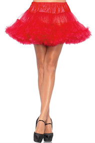 Red Ruffled Mesh Petticoat Tutu Skirt