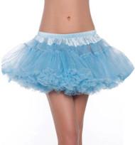 Blue Ruffled Mesh Satin Waist Tutu Skirt