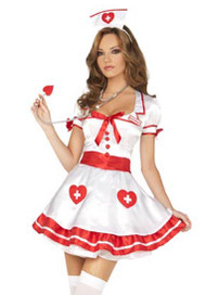 Deluxe Nurse Satin Heart Halloween Costume