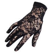 Black Lace Short Wrist Length Gloves