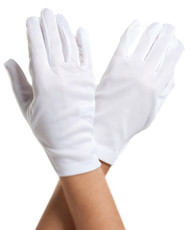 White Short Wrist Length Satin Gloves