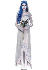Zombie Corpse Bride Gray Long Gown Halloween Costume